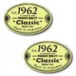 PAIR Distressed Aged Established 1962 Aged To Perfection Oval Design Vinyl Car Sticker 70x45mm Each
